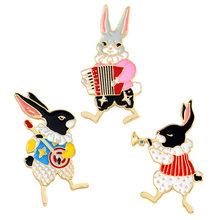 3 pz/set Smalto Duro Spille Set Musicista Coniglio Spilli Vintage Spilla Coniglietto Del Coniglio Dei Monili Svegli Regali(China)