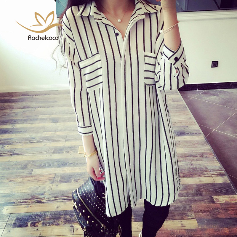 Rachelcoco New Spring Summer Casual Blusa Plus Size Full Sleeve Turn Down Collar Stripe Blouse Fashion Brand Korean Style Shirt(China (Mainland))