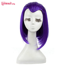 New Arrival Raven From Teen Titans 35cm Medium Purple Anime Cosplay Synthetic Hair Wigs ZY10(China (Mainland))