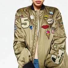 2016 Autumn fashion Army Green patch designs baseball jacket women basic coats Varsity Jacket chaquetas mujer jaqueta feminina