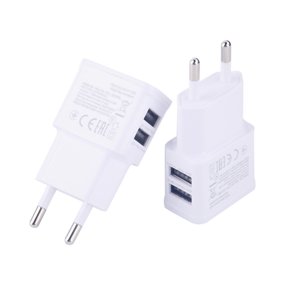 Mini Dual USB Charger Adapter 5V 2A Mobile Phone Tablet PC Battery Charging USB Charger Travel Charger EU Plug White Charger(China (Mainland))