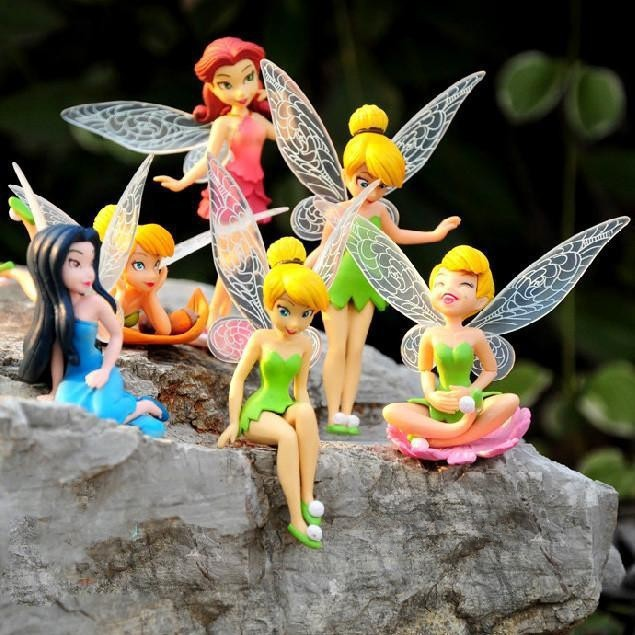 Retail boneca 6~8 cm Tinkerbell dolls Fairy Adorable tinker bell Mini toy flower pretty doll Action Figure brinquedo 6pcs/set(China (Mainland))