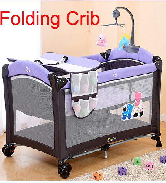 Portable Foldable Baby iron crib travel babys sleeping folding bed bassinet deluxe snuggle nest Bebes cradle cama de cots  <br><br>Aliexpress