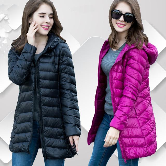Новая зимняя куртка женщины верхняя одежда тонкий пуховик с капюшоном женщина теплый ...