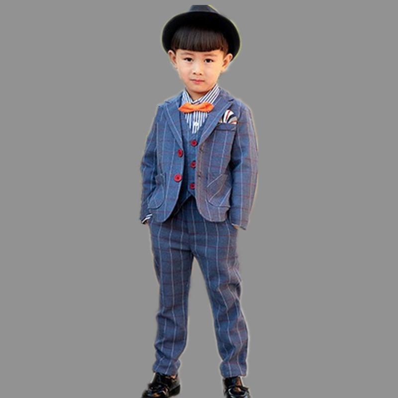 New gentleman plaid shirt+coat+pants Retail top quality children clothing set boys plaid 3 pcs set autumn kids clothes set<br><br>Aliexpress