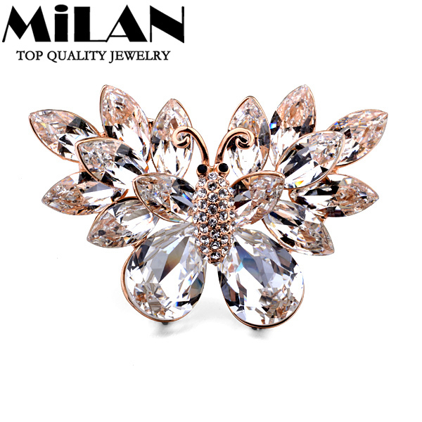 (Min Order $15)Wholesale Italina Fashion Jewelry Luxury Crystal Butterfly Brooches Free Shipping(Milan MJ0243)<br><br>Aliexpress