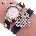 Irisshine C0455 Fashion lady New Women Girl Heart Rhinestone PU Quartz Bracelet Wrist Watch Women Watches