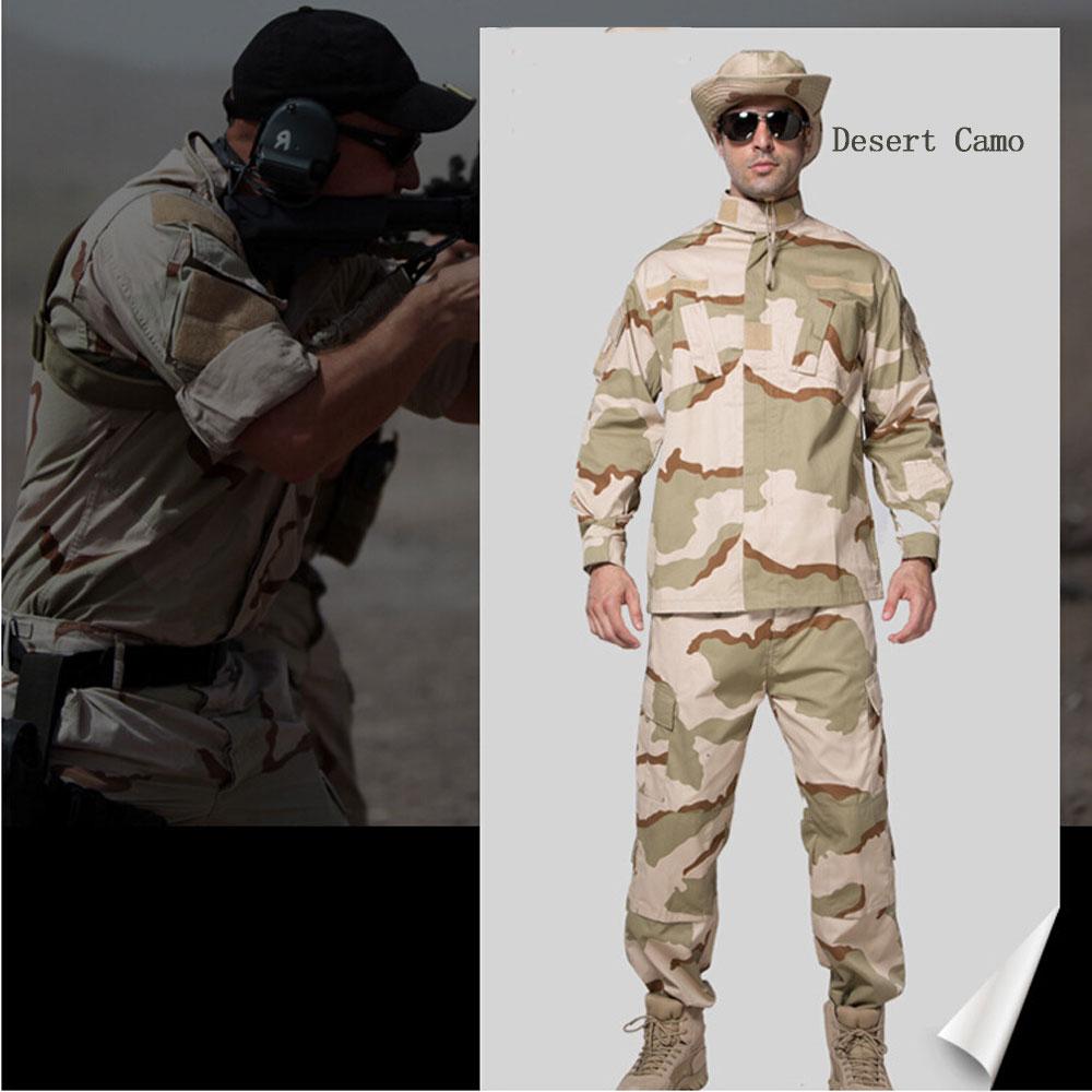 Outdoor Male Tactical Camo Suit Combat Uniform CP Camo Desert Camo And Black Color For Men Hunting Tactical Clothes Size XS-XXL