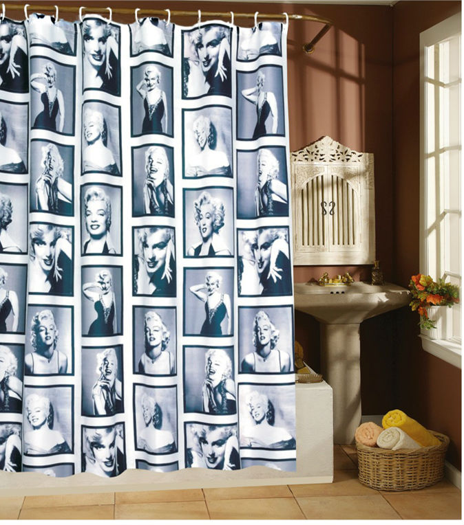 Free Shipping Hot Waterproof Mouldproof Marilyn Monroe Shower Curtain Two Sizes(China (Mainland))
