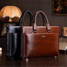 teemzone Men's Genuine Leather High End Business Briefcase Messenger Laptop Case Attache Bag Brown  attache portfolio tote(China (Mainland))