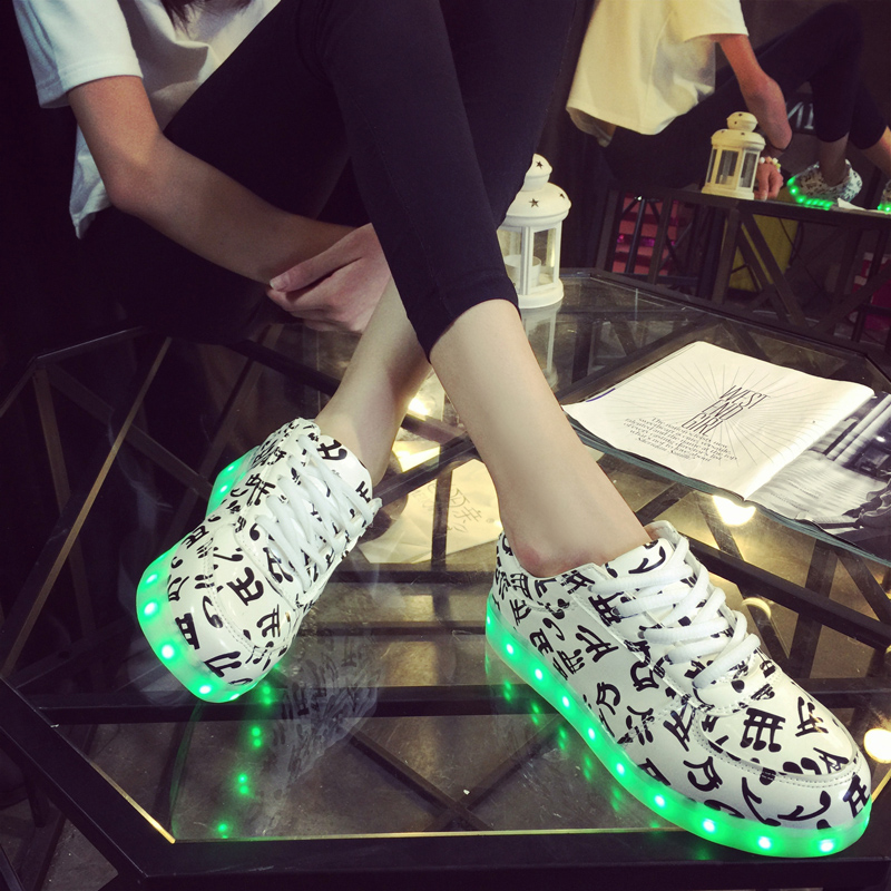 2016 Colorful light shoes spring & autumn luminous shoes neon shoes usb charge led lighting light lovers fashion shoes