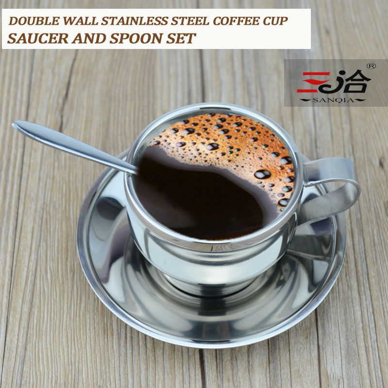 120ml high quality stainless steel coffee cup saucer and spoon set stainless steel double wall coffee mug(China (Mainland))