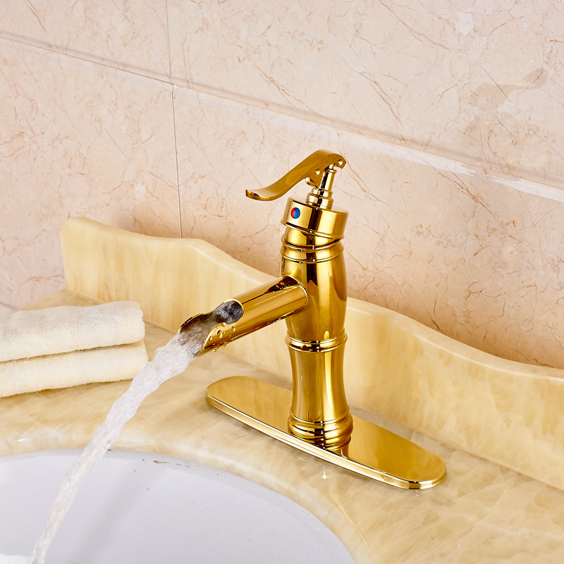 """Фотография Golden Single Handle Basin Faucet with Hot and Cold Water 8"""" Hole Cover Plate Included"""