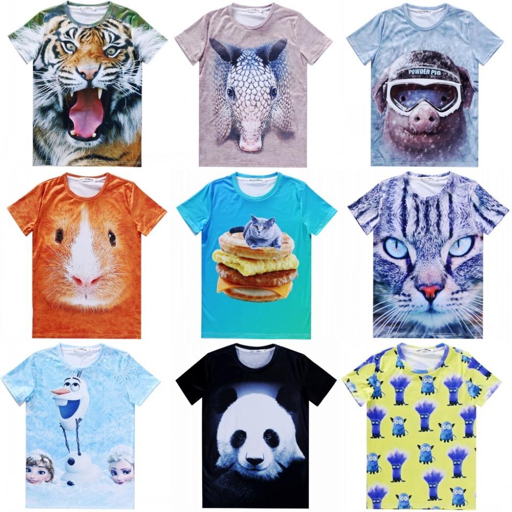 Женская футболка 2015 t 3D Cat t flowers женская футболка t 2015