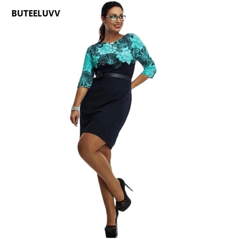 2016 Summer Dress 3/4 Sleeve Plus Size Formal Office Dress Elegant Ladies Dress 6XL New Design Blue White Woman's Dress Vestidos(China (Mainland))