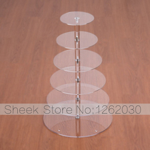 6 Tier Crystal Acrylic Round Cupcake Stand or Round perspex cake Display Tools Suitable for Christmas/Wedding/Birthday Craft(China (Mainland))