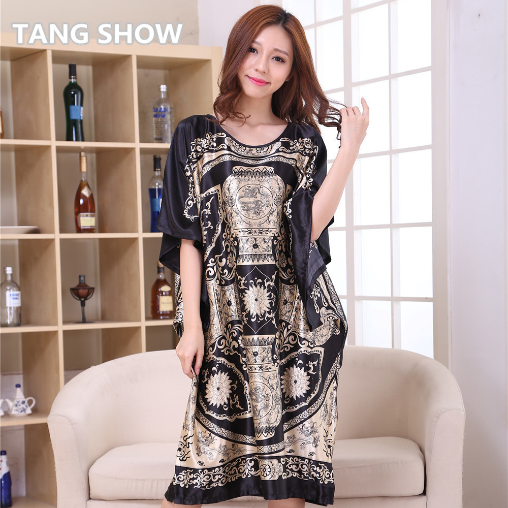 Hot sale black chinese female rayon nightgown summer for Bathroom dress