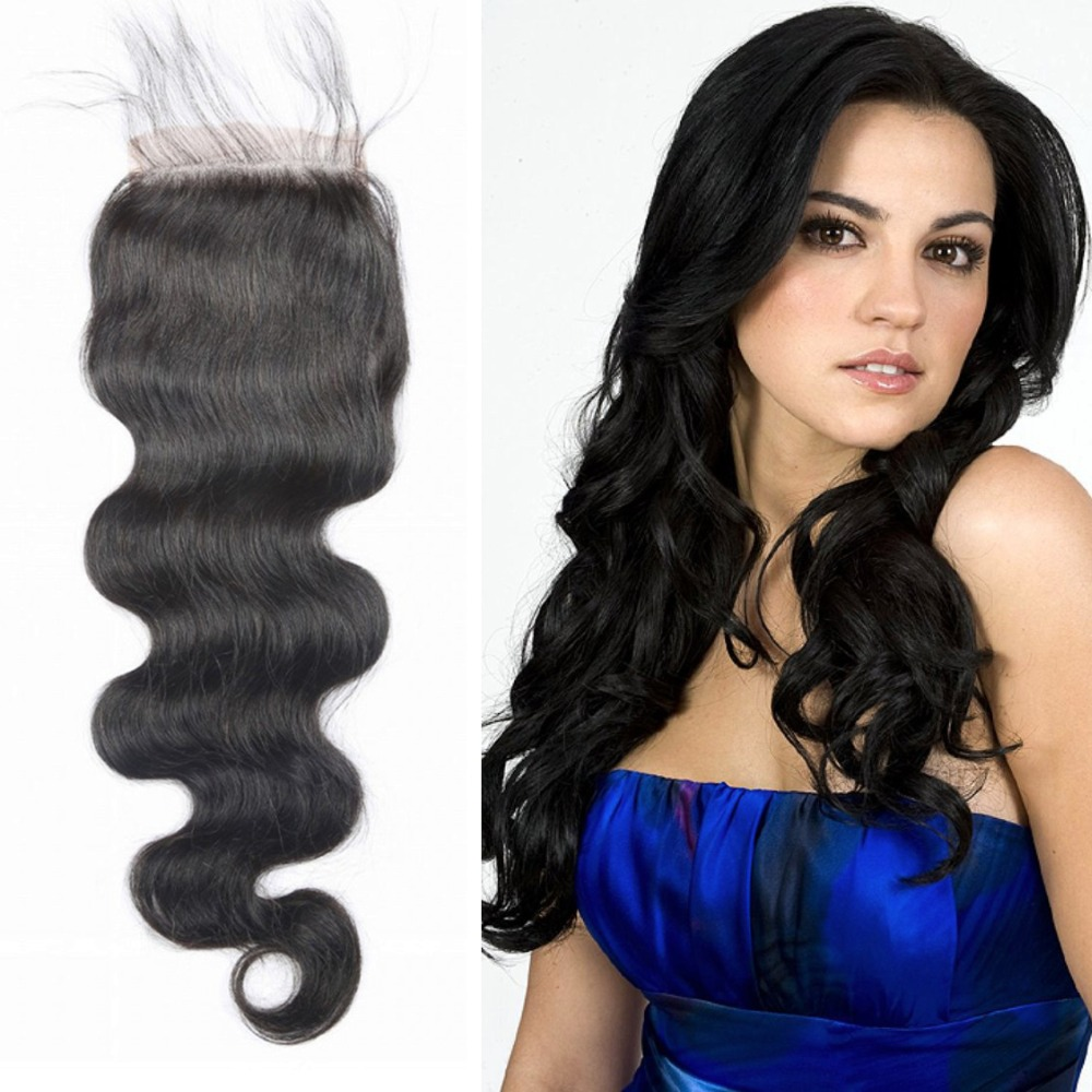 Cheap Lace Closure With Bleached Knots Virgin Hair 4x4 Middle Free 3 Part Peruvian Body Wave Closure Human Hair Closure Piece(China (Mainland))