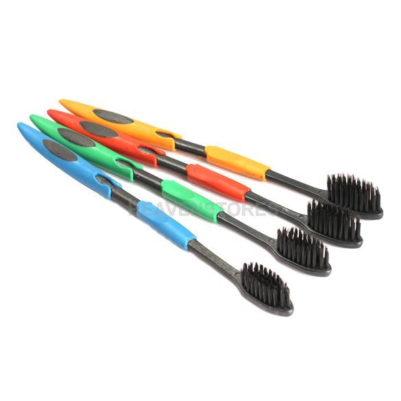 4шт двойной ультра мягкая зубная щетка с бамбуковым углем nano щетка oral care