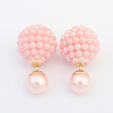 5 Colors Brand Double Side Imitation pearl fashion earring Trendy Cute Charm Pearl Statement Ball Stud earrings for women(China (Mainland))
