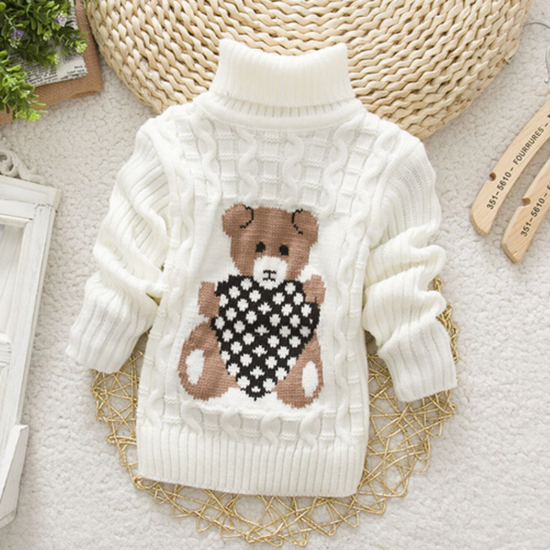 2015 Baby Girls Boys jumper Autumn Winter Cartoon Sweaters Children Kids Knitted Pullover Warm Outerwear Babi Turtleneck Sweater(China (Mainland))