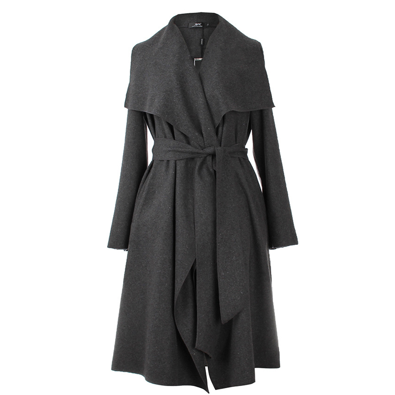 2016 Coat Women Wide Lapel Belt Wool Coat Oversize Women Black Long Trench Coat Casacos Femininos Coat Wool Poncho(China (Mainland))