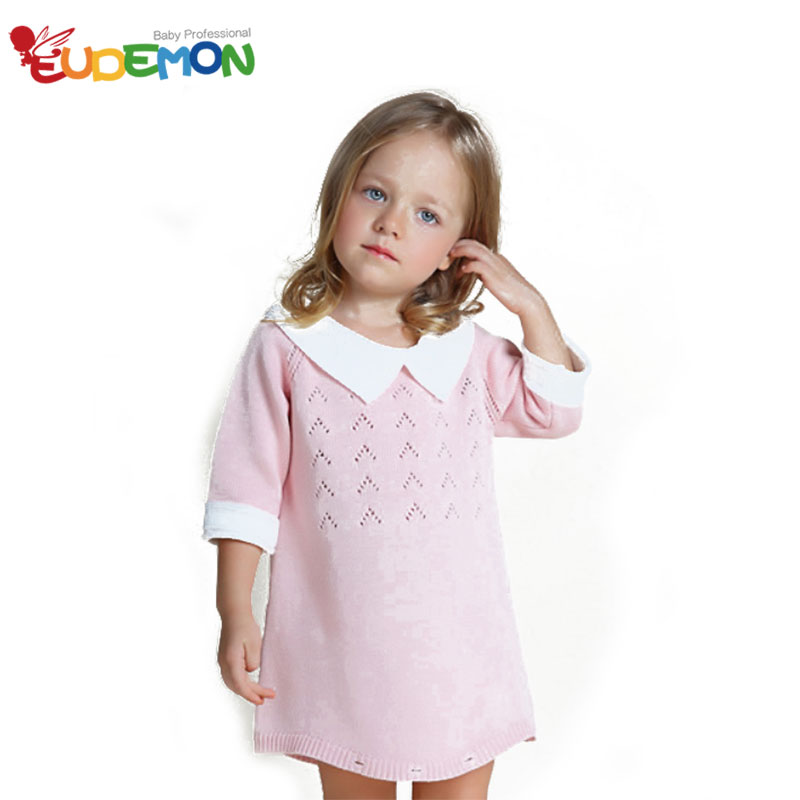 [Eudemon] 2016 New Arrival Winter Dress Girls Sweet Style Fashion Sweater Dress For Children Clothing Pink Green Girls Dresses(China (Mainland))
