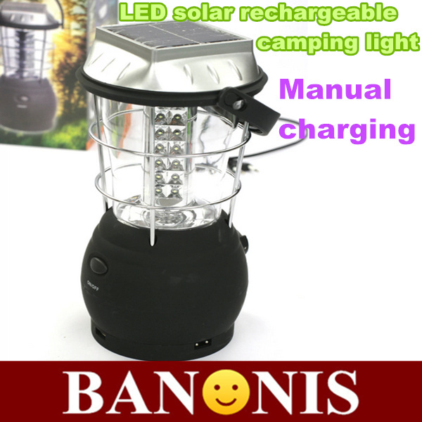 High quality LED solar rechargeable camping light,hand-operated rechargeable camping tents lamp,lantern,outdoor lighting,black(China (Mainland))