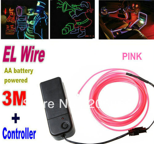 3M Flexible Neon Light DIY EL Wire Rope Tube for Dance bar Festival Eyecatchy Fancy Dress Party EL cable rope+Controller--Pink(China (Mainland))
