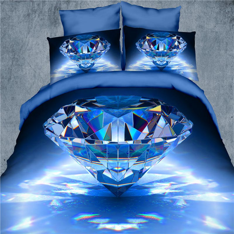 3D bedding set 4pcs Blue Diamond and flower duvet cover stereoscopic bed sets bedspread/bed sheet/bed linen queen size(China (Mainland))