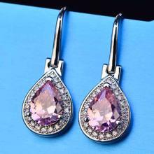 Pear Cut Female Austrian Crystal Drop Earrings 925 Sterling Silver Filled Teardrop Zircon White Yellow Pink Stone Dangle Earring(China)