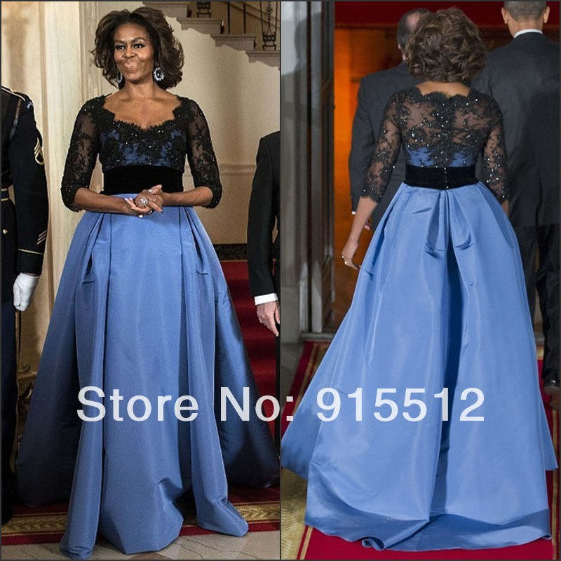 Michelle Obama Celebrity Dress Two Tone Elegant Ball Gown Scoop Neckline Empire Waist Lace Top Half Sleeve Dress(China (Mainland))
