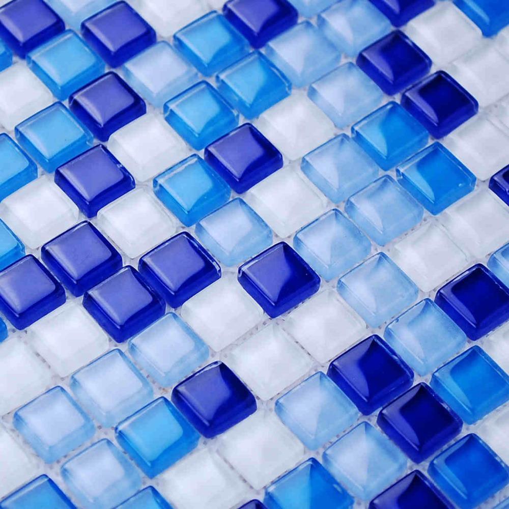 Mini Square Blue Color Zone Glass Mosaic Tiles For Kitchen Backsplash Tile Ba