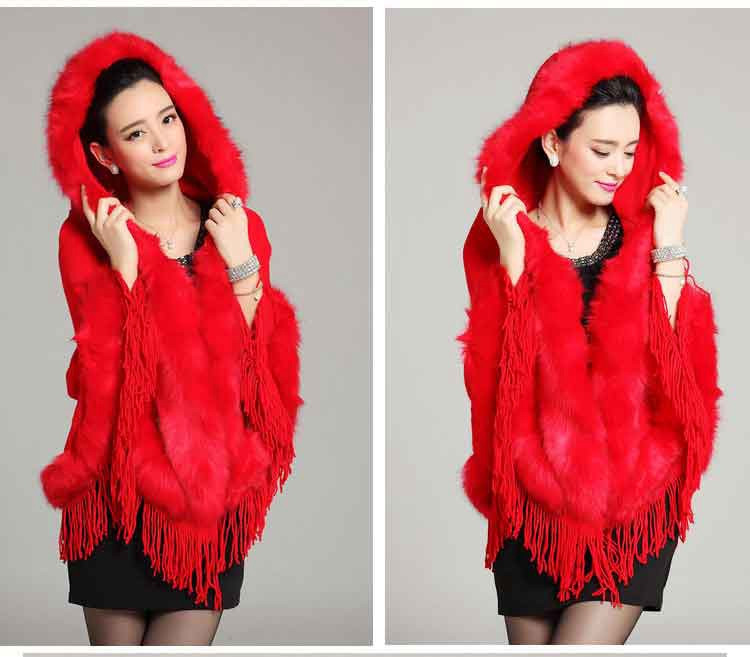 lady pullover shawl with hoody tassels fur (9)