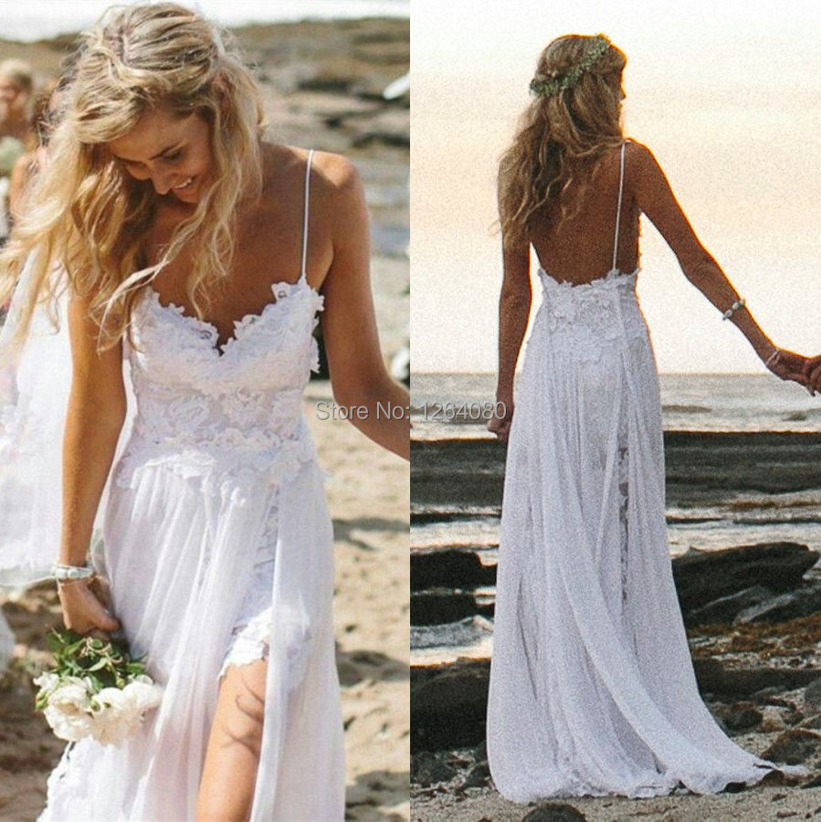 Sexy spaghetti straps lace summer beach wedding dresses for White summer wedding dress