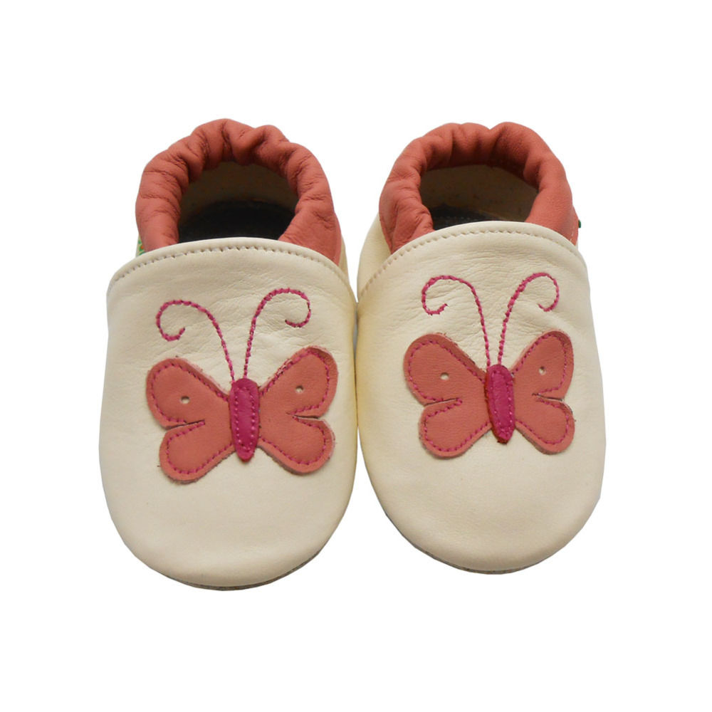 Sayoyo Branded 2016 Baby Shoes Girls White Butterfly Printed Cow Leather Toddle Soft Sloe Infant Baby Moccasins Free Shipping