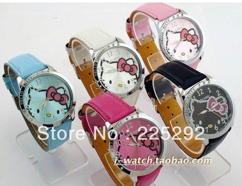 Free shipping!10piece Fashion Hello Kitty watches cartoon woman's watch diamond Crystal Artificial Leather