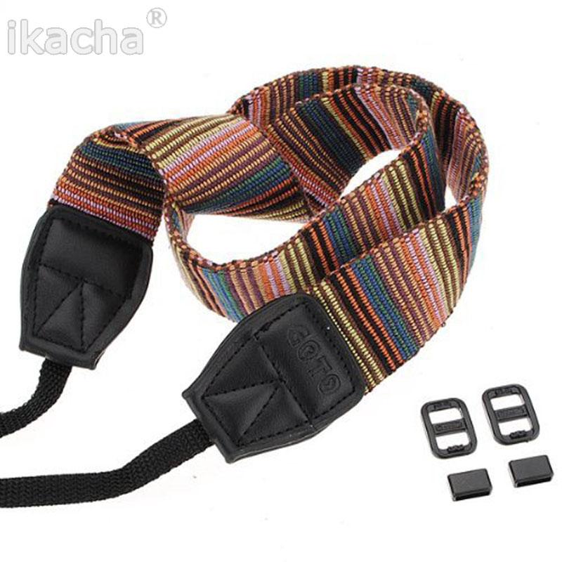 2015 Universal Color Stripes Soft Red Camera Neck Straps Shoulder Belt Grip Nikon Canon Sony Pentax Vintage Style DSLR