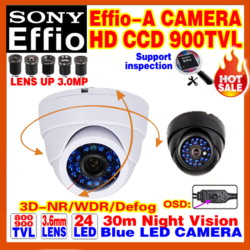 High Quality HD 1/3Sony Effio CCD 800/900TVL Security Surveillance Analog Hd Color Cctv Camera OSD Meun Indoor Dome Mini Video(China (Mainland))