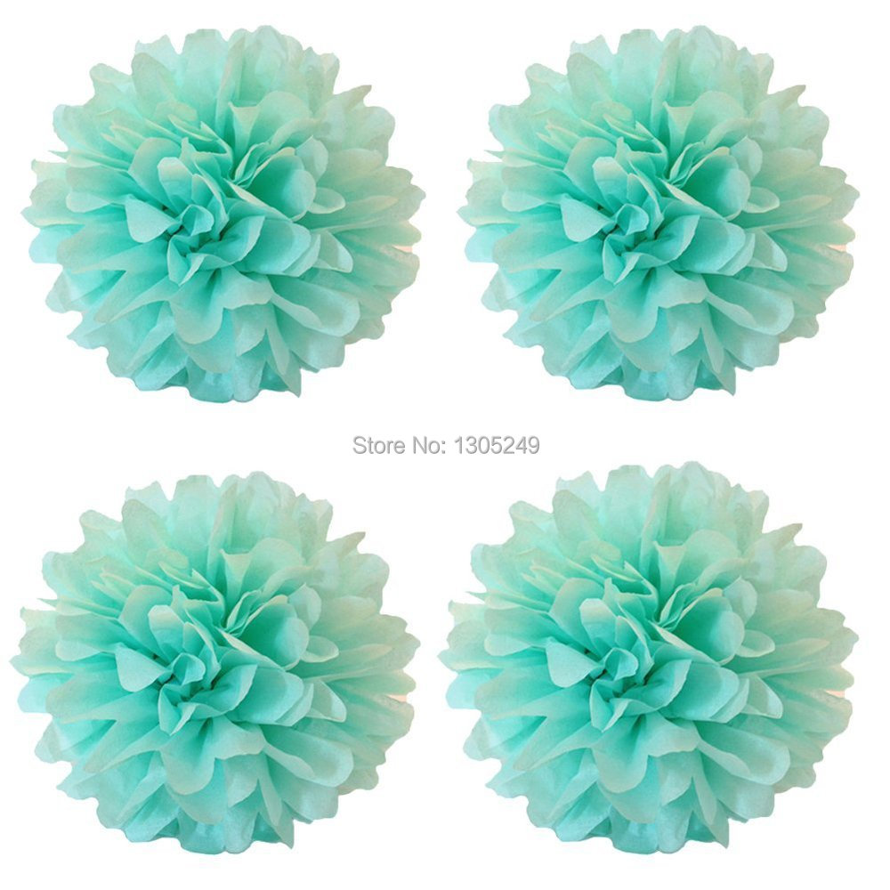 "10 Pack 14"" MInt Green Tissue Pom Poms Wedding Decoration Flower Wedding Pompoms Birthday Party Bridal Shower Favor Decoration(China (Mainland))"