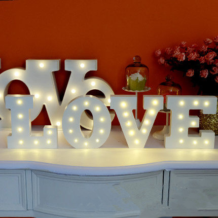 New White wooden letter LED Marquee Sign Alphabet LIGHT UP night light Indoor WALL Decoration Wedding Party Window Display Light(China (Mainland))