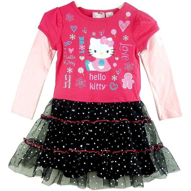 Retail new kids dress cartoon hello kitty long sleeve girl dresses fashion girls dresses casual kids clothes baby girls dress(China (Mainland))