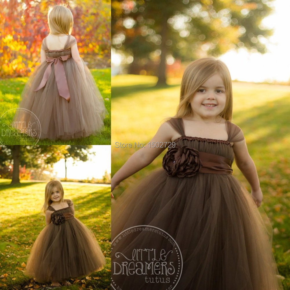 Chocolate Brown Ball Gown Flower Girl Dresses with Cap Sleeve Floor Length Baby Girl Wedding Gowns Kids Gowns Girl Pageant Dress(China (Mainland))