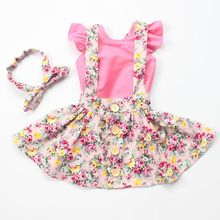 2016 new arrive girls clothes set  pink  vintage floral  dress &headband  baby girl clothes free shipping kids clothes