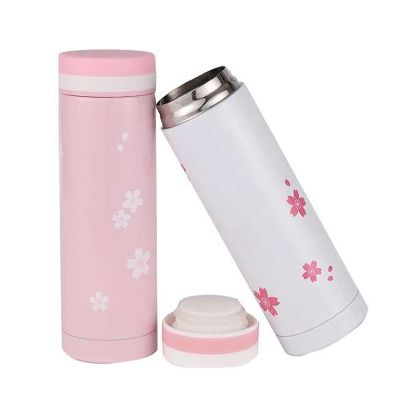 Beautiful Cherry Blossom Thermos 300ml Stainless Steel Pink Coffee Thermos Cup Cute Termo Mug Travel Vacuum Thermo Tumbler White(China (Mainland))
