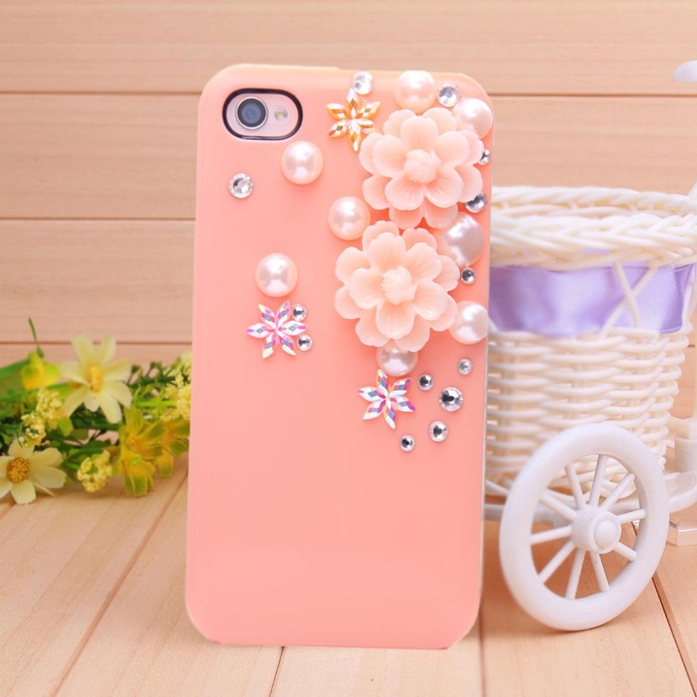 2014 new fashion pink phone Border Protection Case diamond Resin flower phone bag cover for iPhone 4 case for iPhone 4s glass(China (Mainland))