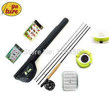 Goture Hot 5/6 fly fishing reel +2.7m rod +WaterProof Rod Bag+connecting Lines+lure Box+ fishing hooks Super Quality Set Kit