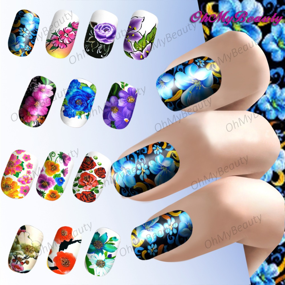 Hot Sale Nail Stickers Flower Series Water Transfer Stickers Decoral 22 Kinds Of Styles(China (Mainland))