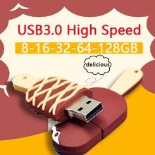 USB 3.0 Chocolate Ice Cream Usb Flash Drive 32GB Memory Stick Card Pen Drive 128GB 16GB 64GB 512GB Pendrives Creativo Gift(China (Mainland))