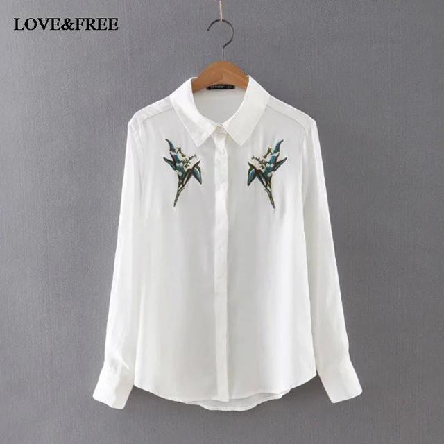 Flower embroidery long sleeve women cotton shirt elegant for White cotton work shirts